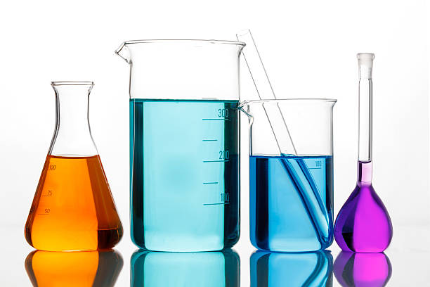 chemical glassware for experiments - beaker stock photos and pictures