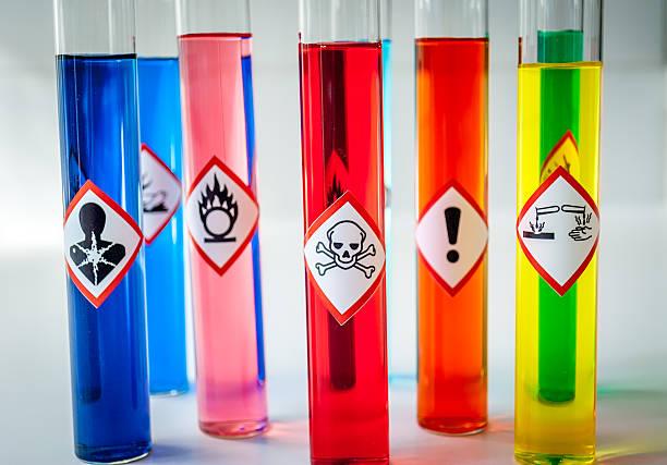 Chemisches Risiko grafischen Symbolen mehrfarbigen – Foto