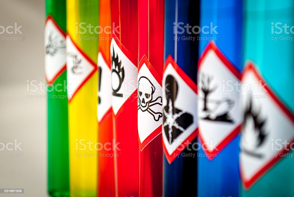 Chemical hazard pictograms Toxic focus - Royalty-free Analyseren Stockfoto