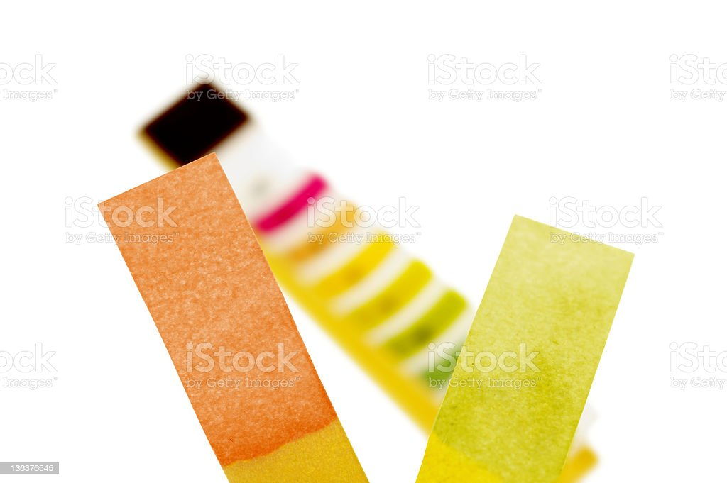 Chemical Indicator Papers With Chart stock photo