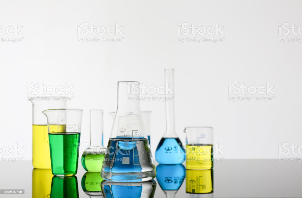 Chemical industry bulb with blue magenta stock photo