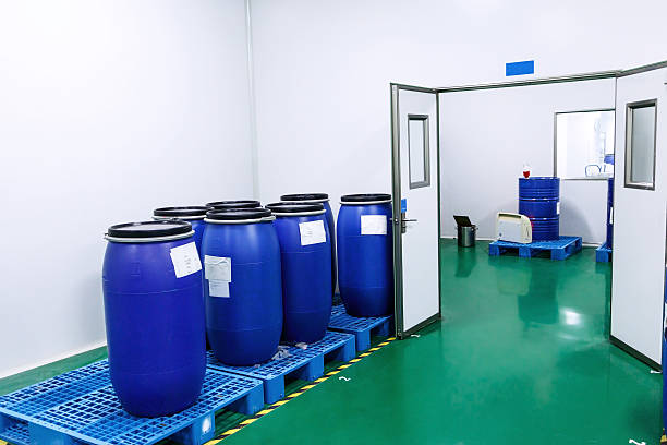 Chemical industry storage room interior stock photo