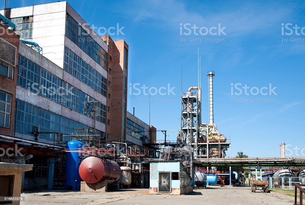 chemical oil refining factory stock photo