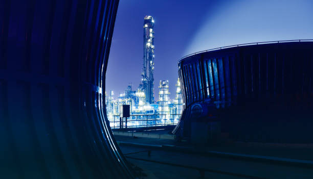 Chemical & Petrochemical Plant, Oil Refinery Chemical & Petrochemical plant, Oil refinery at night. chemical plant stock pictures, royalty-free photos & images