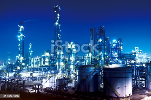 Aerial view of chemical & petrochemical plant, oil refinery at night.