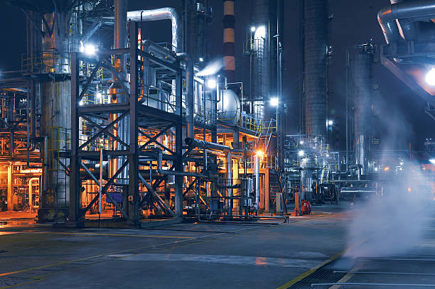 Chemical & Petrochemical Plant Chemical & Petrochemical plant abstract at night. chemical plant stock pictures, royalty-free photos & images