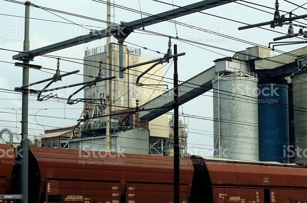 Chemical plant and train royalty-free stock photo