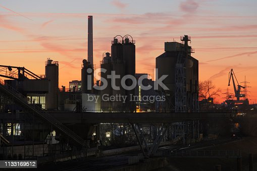 Industrial plant that manufactures industrial chemicals, HDR image.