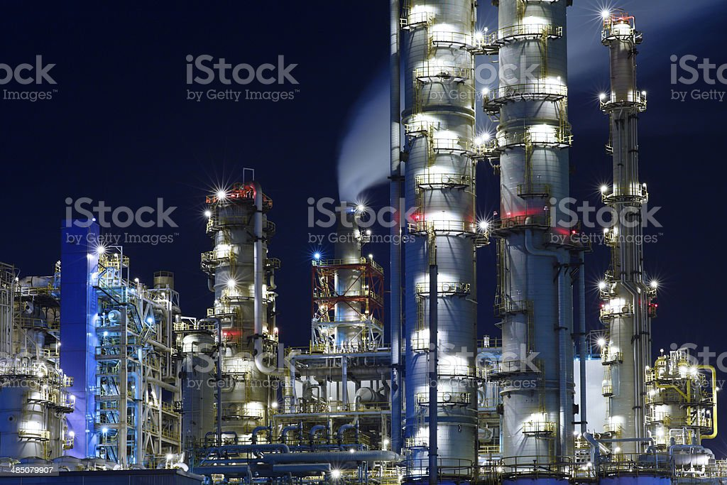Chemical Plant at Night. stock photo