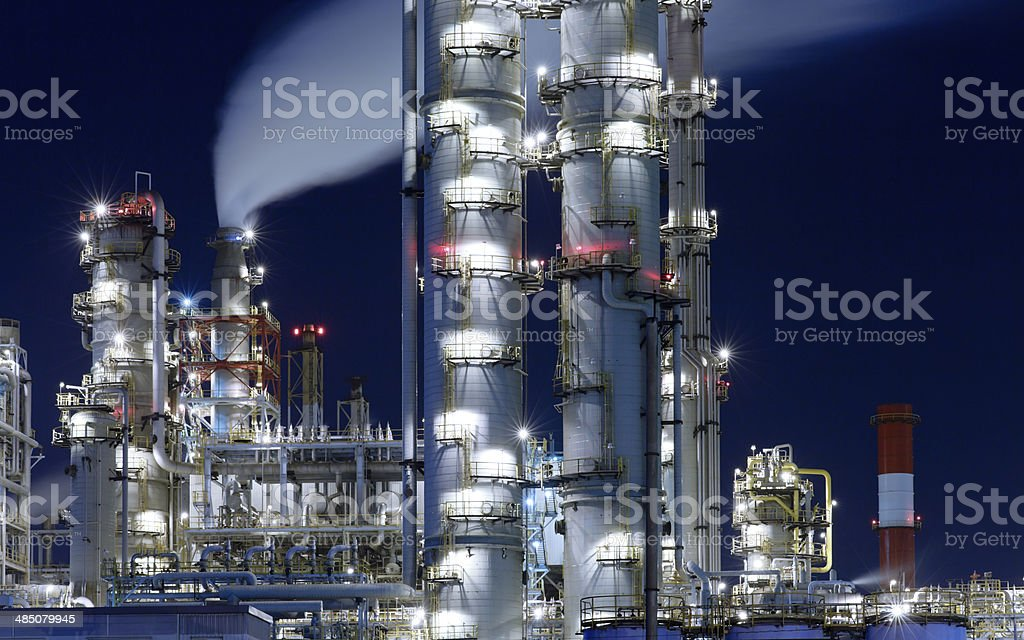 Chemical Plant at Night. royalty-free stock photo