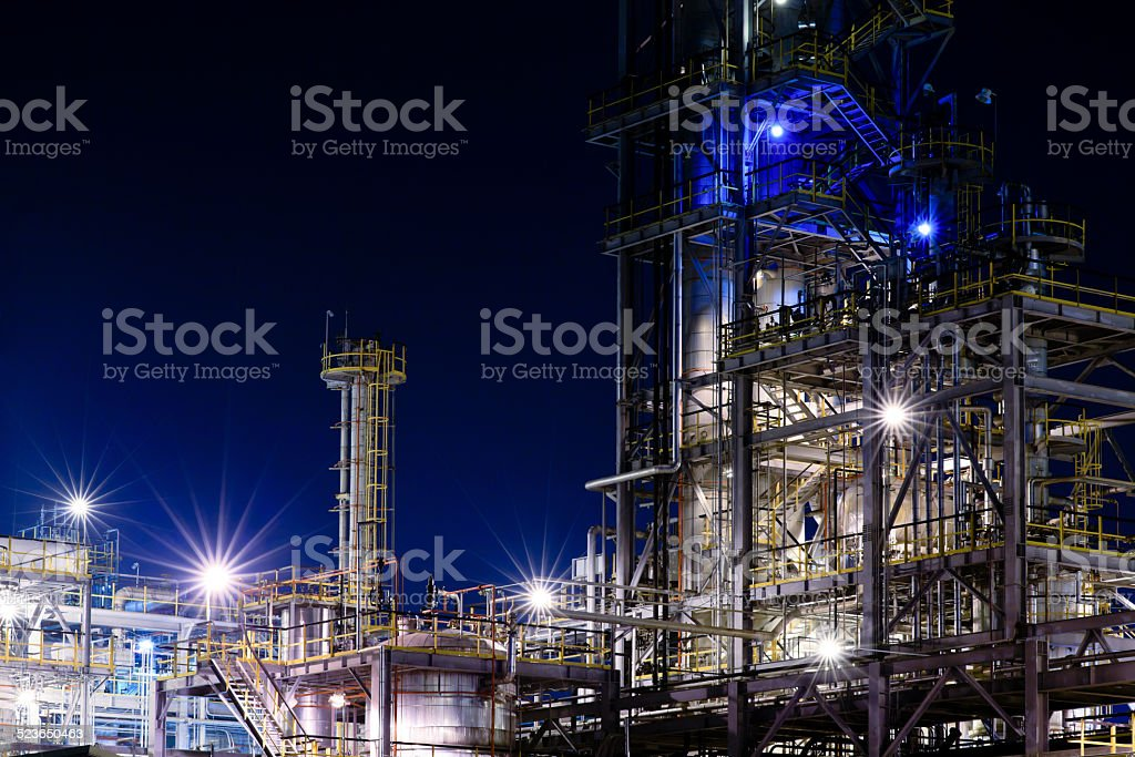 Chemical plant at night.