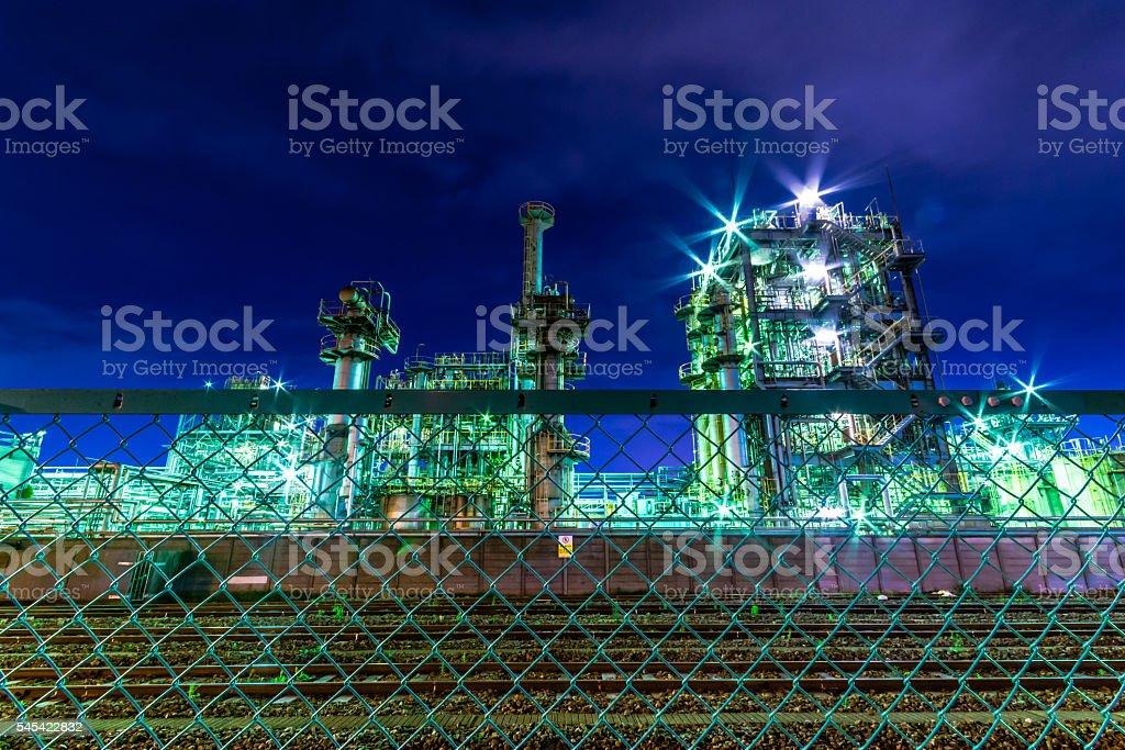 Chemical Plant At Night Stock Photo & More Pictures of Business