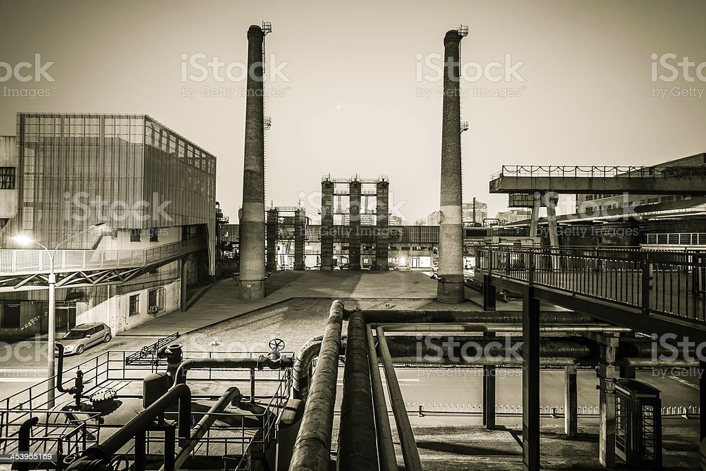 Chemical plant at twilight royalty-free stock photo