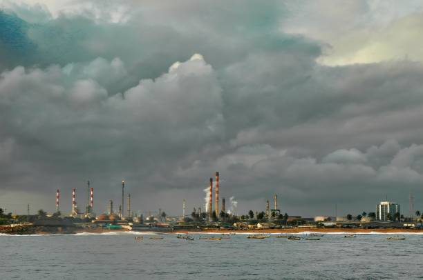 chemical plant before entering in abidjan harbour chemical plant before entering in abidjan harbour côte d'ivoire stock pictures, royalty-free photos & images