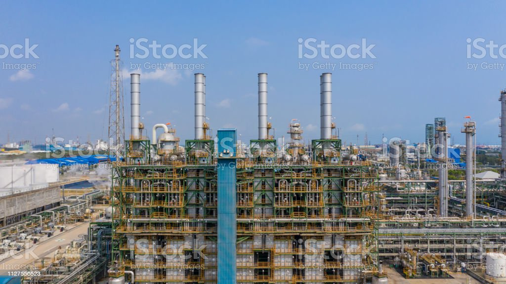 Chemical plant, chemical factory, Industrial plant with blue sky,...