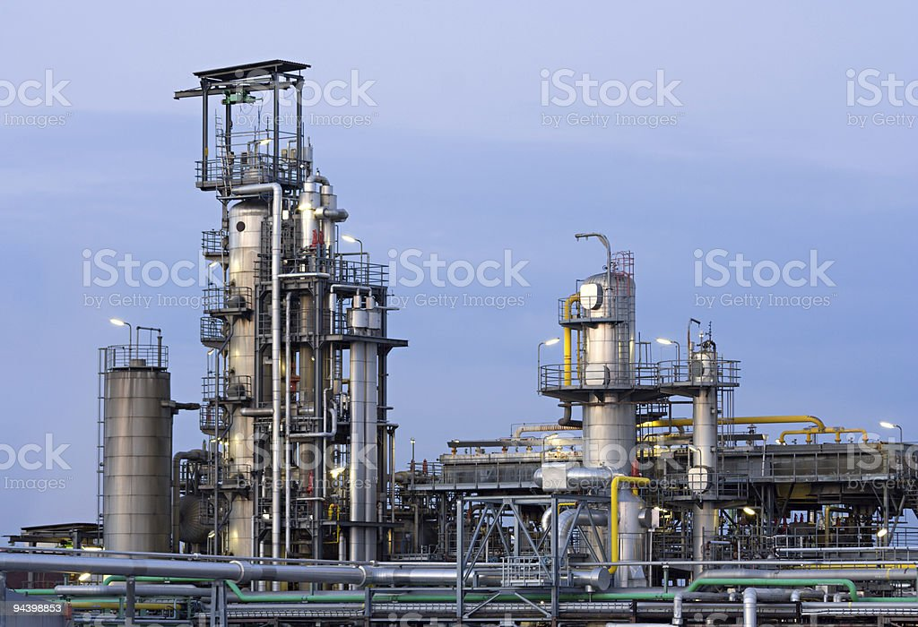 Chemical Plant In The Evening stock photo
