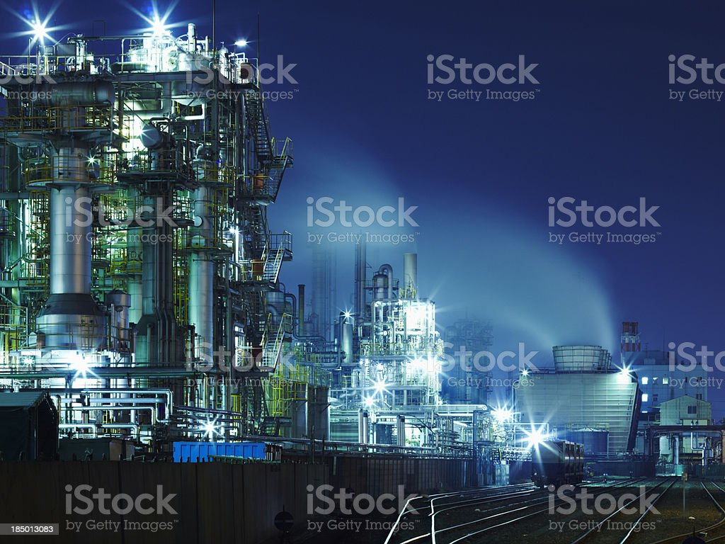 Chemical plant lights at night stock photo