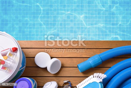 istock Chemical products and tools for pool maintenance 682912700