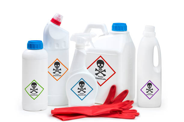 Chemical products Chemical cleaning or toxic product concept on white background. hazardous chemicals stock pictures, royalty-free photos & images