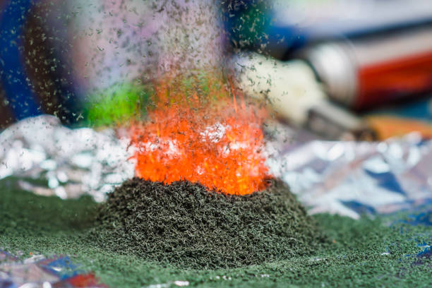 chemical reaction of ammonium dichromate if it ignite chemical reaction of ammonium dichromate if to set fire to it on the foil chemical reaction stock pictures, royalty-free photos & images
