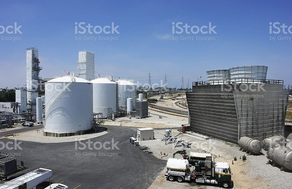 A chemical refinery plant with blue skies stock photo