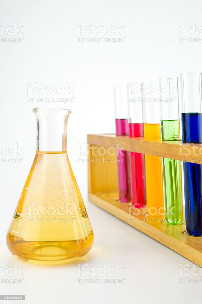 Chemical samples for laboratory tests stock photo