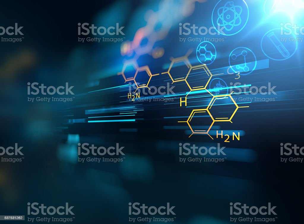 chemical science, medical substance and molecules background 3d stock photo
