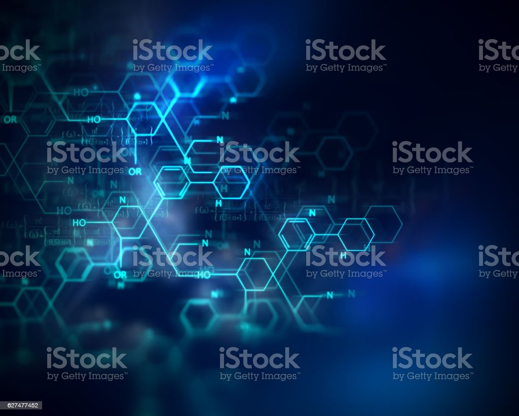 Química de la ciencia, medicina principio activo y las moléculas de enfermedades de fondo - foto de stock
