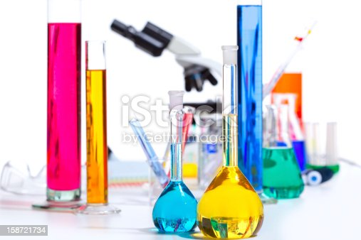 istock Chemical scientific laboratory stuff test tube flask 158721734