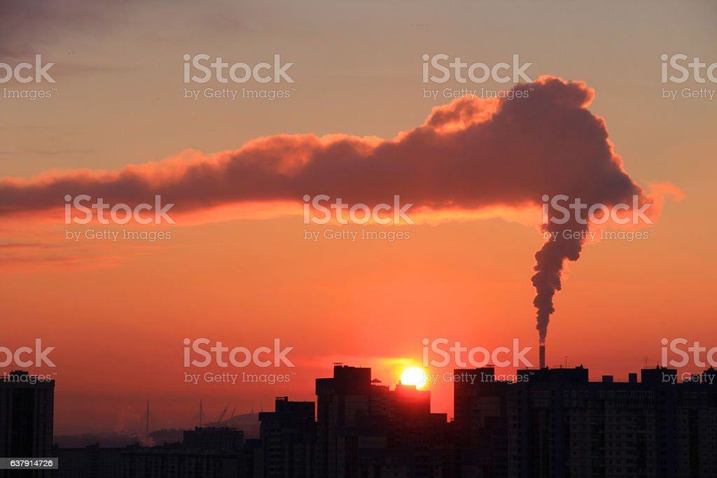 Chemical smokie in city stock photo