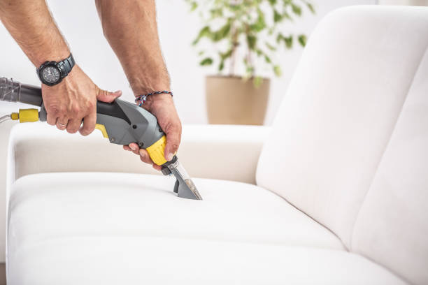 Chemical sofa depth cleaning by a professional stock photo