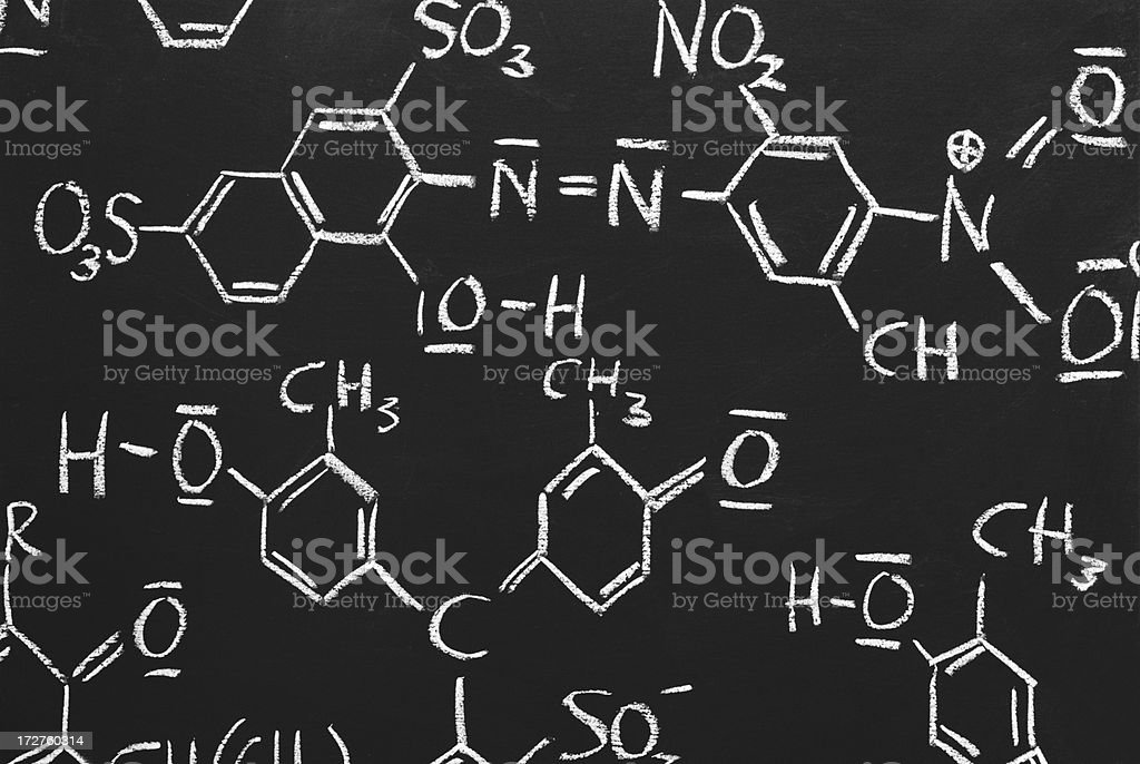 chemical structures on a blackboard stock photo