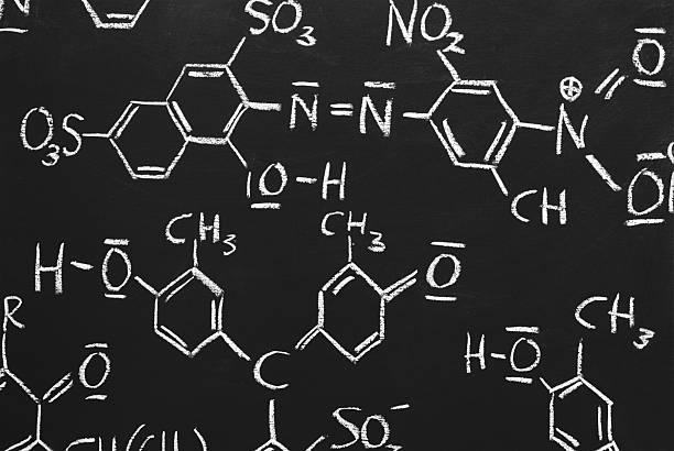 chemical Strukturen auf einer Tafel – Foto