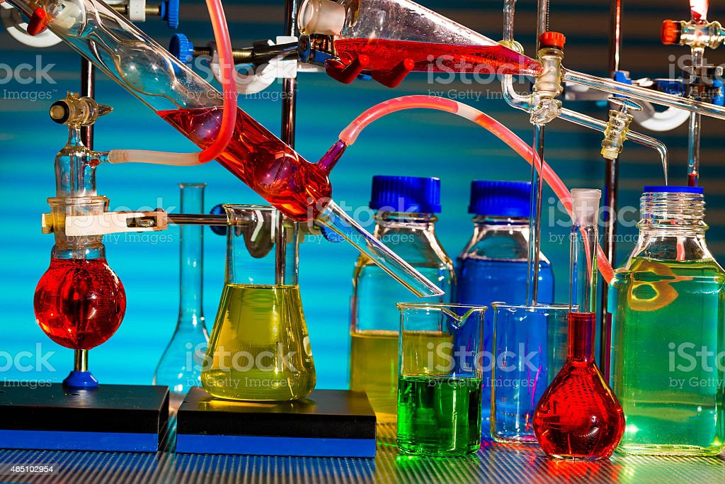 Chemical synthesis of magnetic nanoparticles stock photo