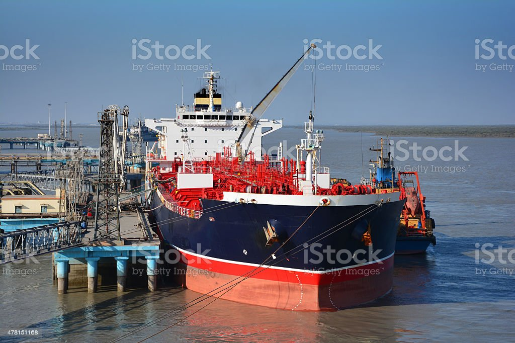 chemical tanker in the port for loading and bunkering operation stock photo