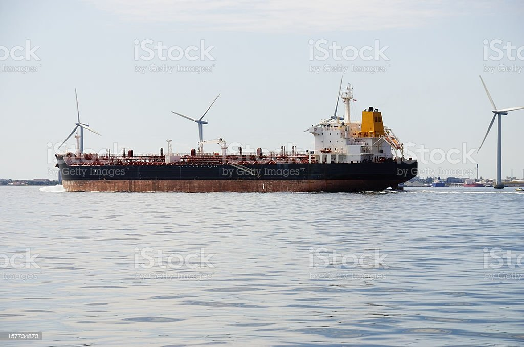 Chemical tanker  leaving the port in Copenhagen, Denmark royalty-free stock photo