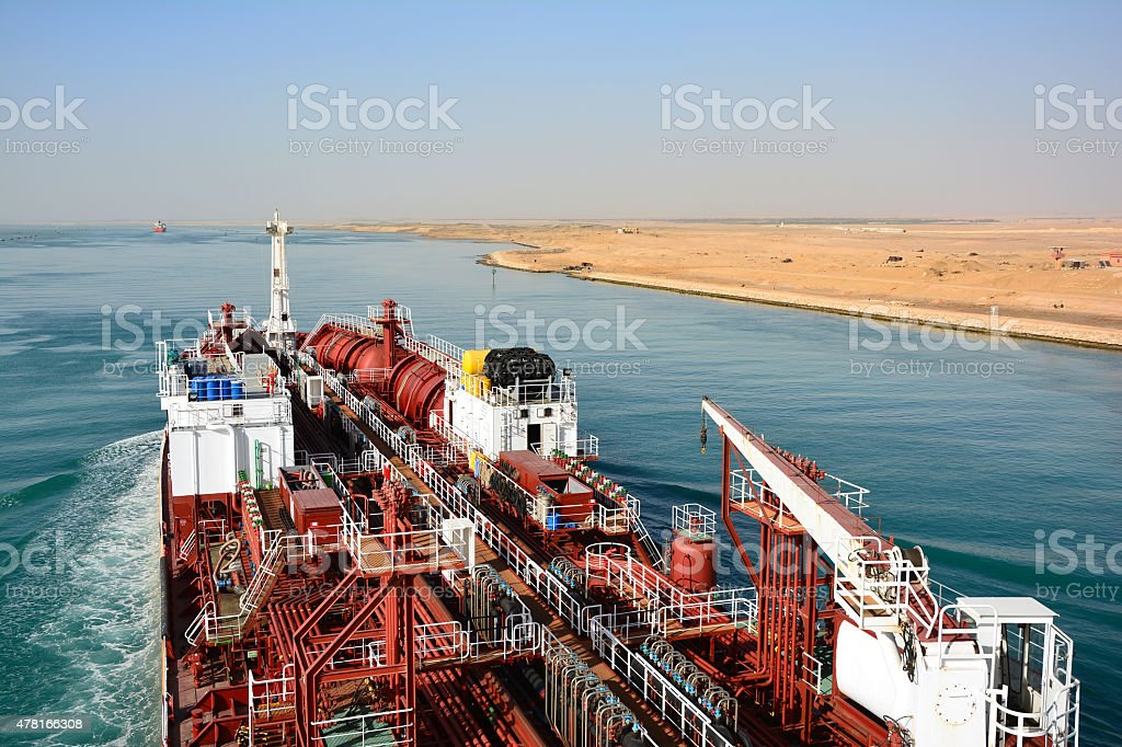chemical tanker passes through the Suez Canal. Egypt stock photo