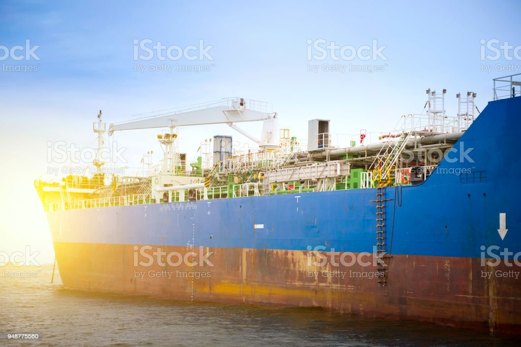 Chemical tanker ship is anchored at sea. stock photo