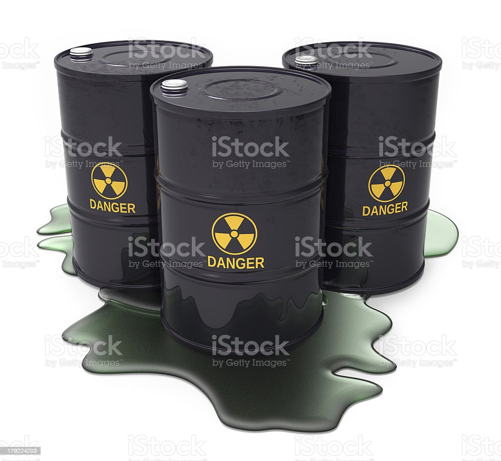 Chemical waste in barrels royalty-free stock photo