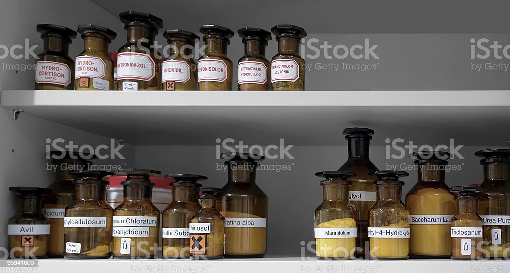 chemicals in glass bottles royalty-free stock photo