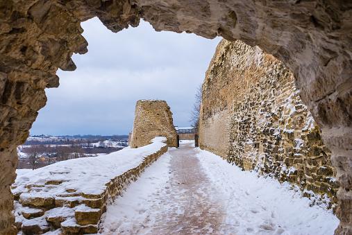 Chemin de ronde and tower in winter scene