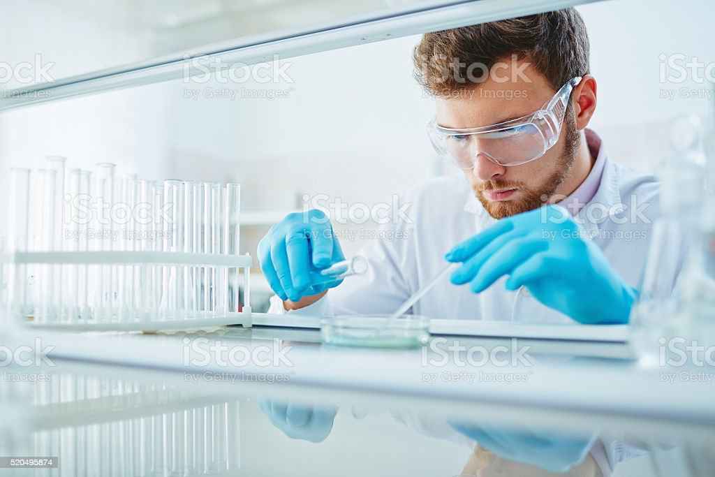Chemist at work stock photo