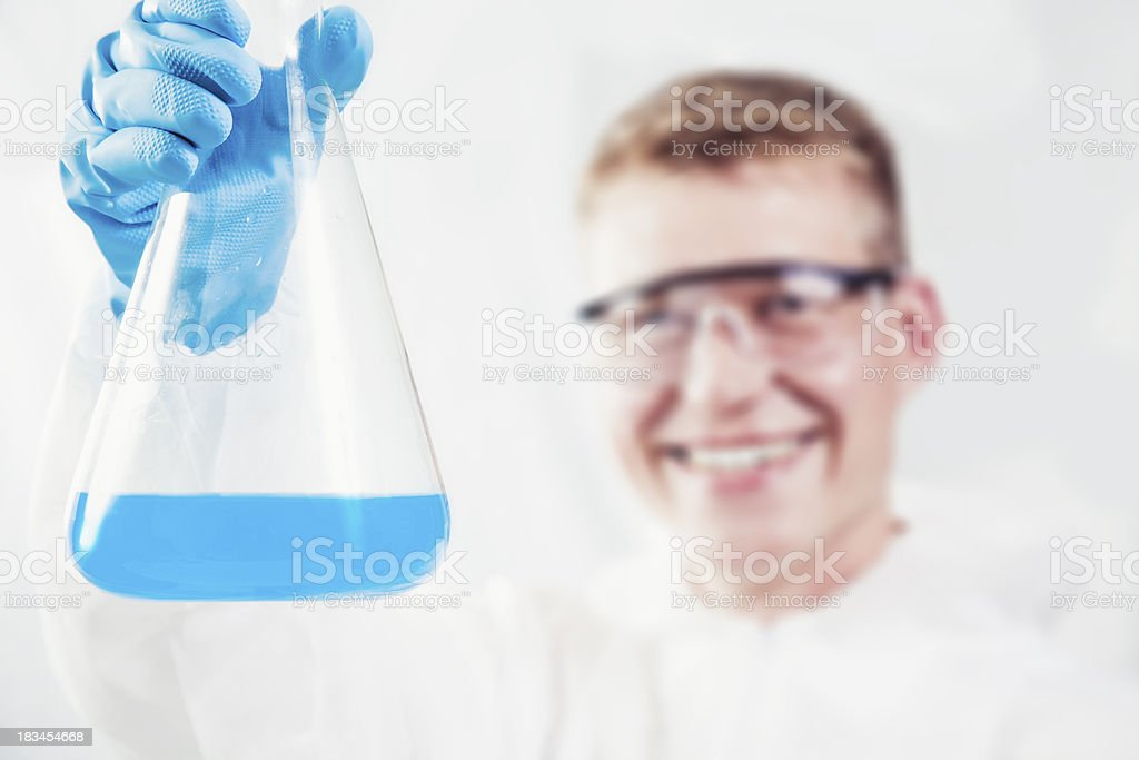 Chemist showing results stock photo