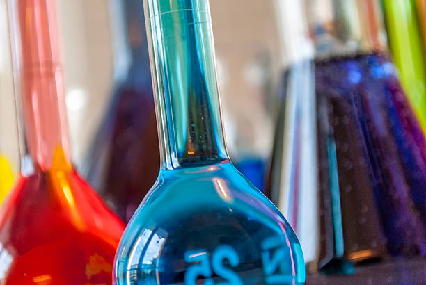 Chemistry blue perspective stock photo