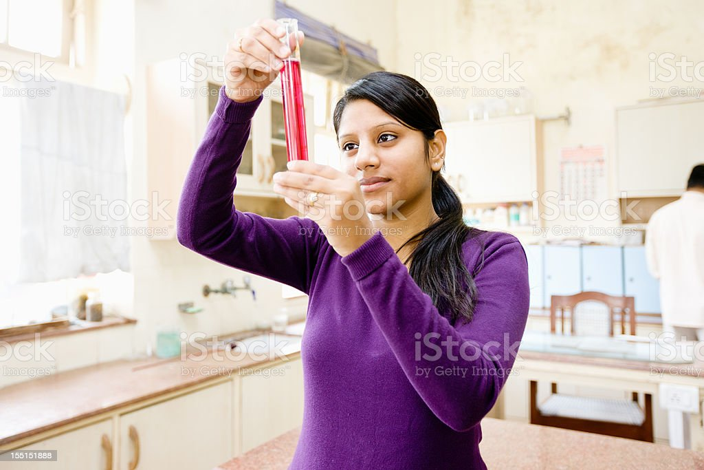 Chemistry Class Female Indian Student Delhi University Classroom stock photo