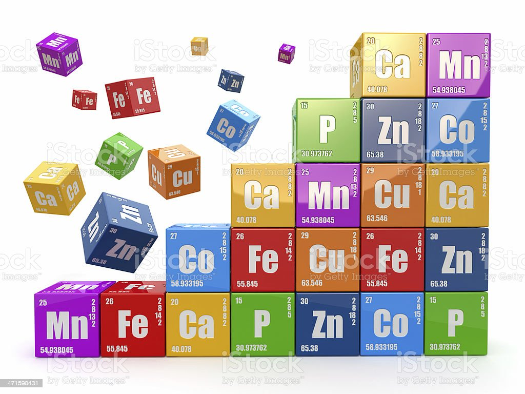 Chemistry concept. Wall from cubes wiyh periodic table elements stock photo
