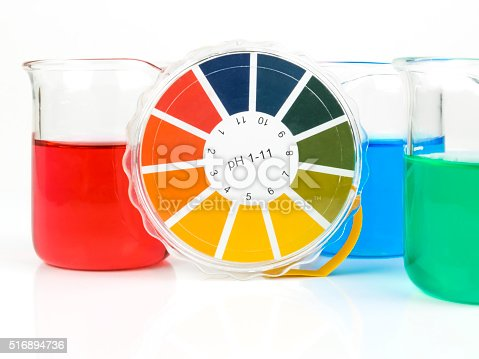 Colorful liquids in beaker glasses
