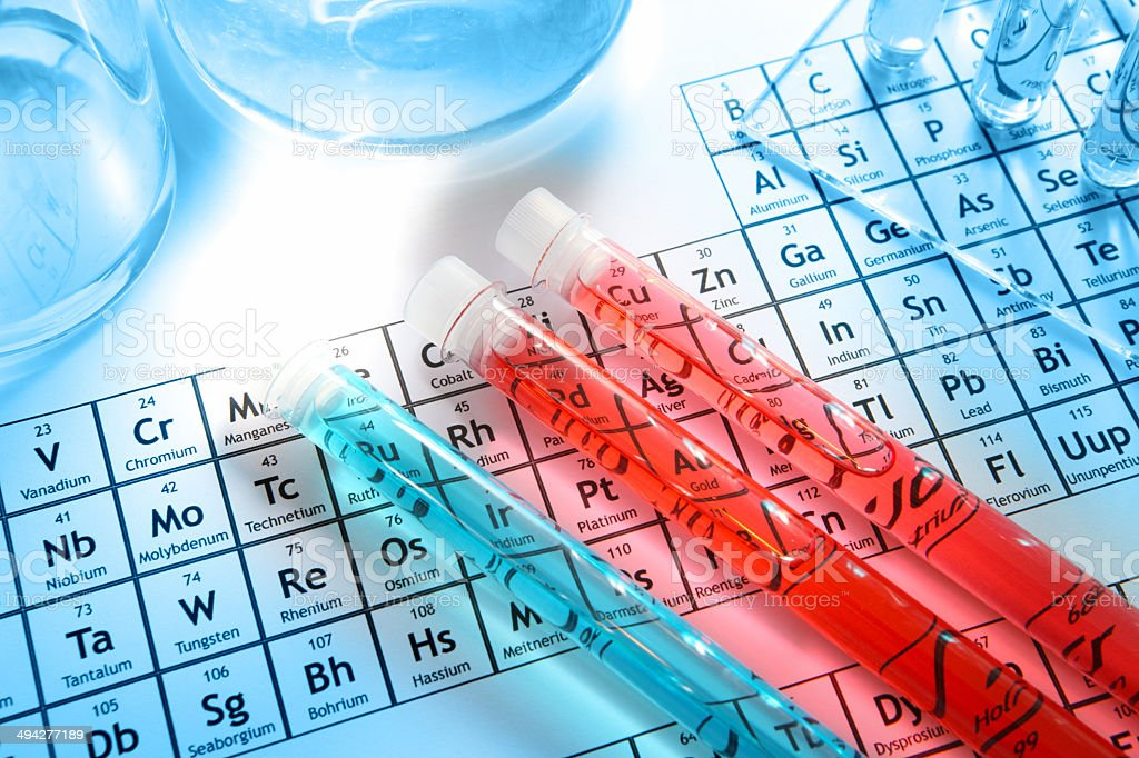Chemistry research laboratory, glass equipment, test tubes, element periodic table stock photo