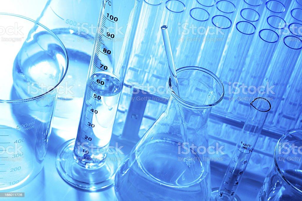 Chemistry Research Laboratory Glassware Equipment In Blue