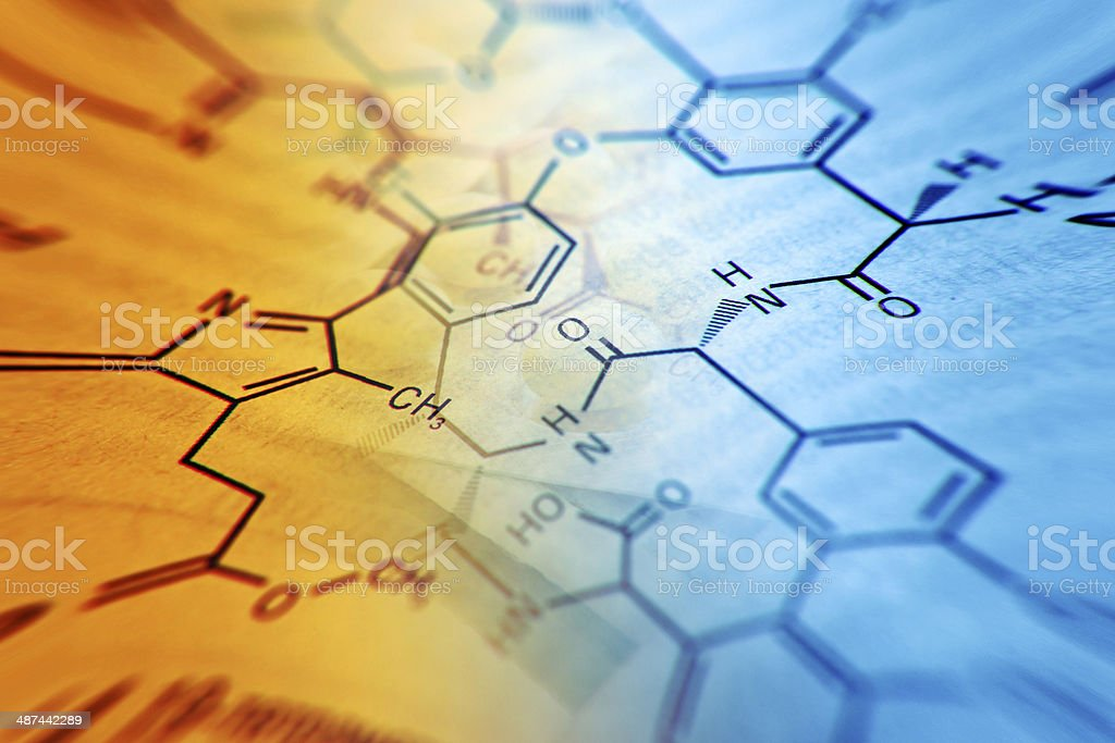 Chemistry science formula and tablets. stock photo